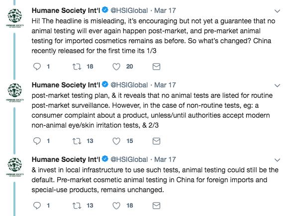 Humane Society en Twitter sobre las pruebas con animales en China