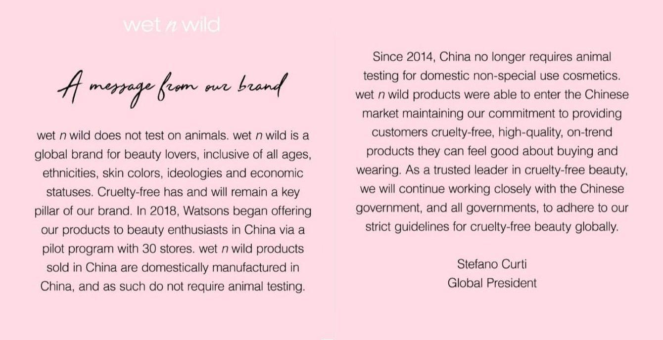 Comunicado donde Wet n Wild reconoce que vende en China