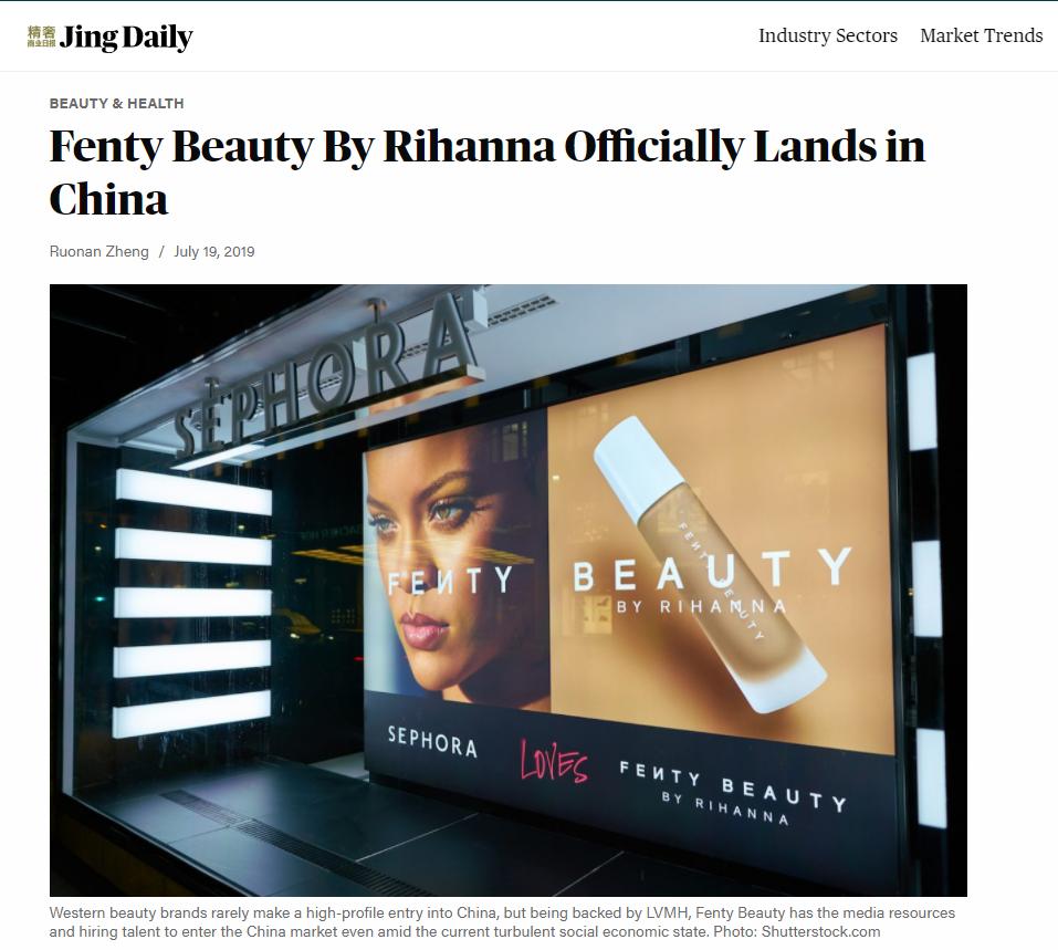 Noticia sobre Fenty en China