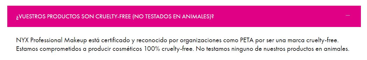 Nyx es cruelty free según web oficial